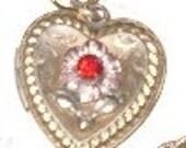 SALE Vintage GF 10 K Heart Locket on lovely gold chain