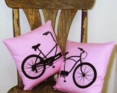 Bicycle Pillow Set - Lovers Tandem - Zippered - PINK