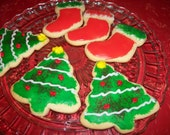 Stockings and Christmas Tree Sugar Cookies