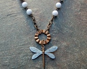 Natural Brass Blue Dragonfly and Blue Lace Agate Necklace