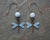 Natural Brass Blue Dragonfly and Blue Lace Agate Earrings