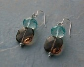 RESERVED FOR SHEILA - Blue Quartz and Faceted Smokey Glass Replacement Earring