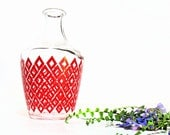 Red Diamond Glass Vase from France