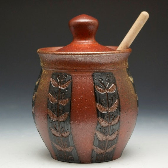 Stoneware Honey Pot with Stripes
