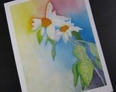 White Poinsettia Watercolor Print Christmas Card