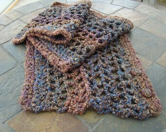Hand Crochet Wrap\/Scarf in muted tones of blues, browns and purples