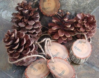 Gift Tags/Ornaments - Natural Sassafras Tree Hand Crafted - Set of Six