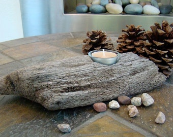 Natural Beach Driftwood Tea Light Candle/Jewelry Holder with Your Choice of Glass Holder