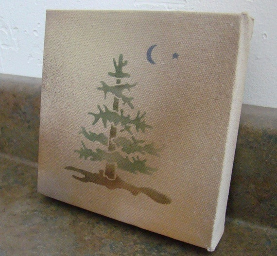 SALE-Original Hand Painting/Stencil of Pine Tree- Wall Hanging on Artist Canvas