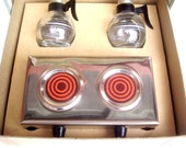Salt and Pepper Shakers Coffee Pot with Warmer Tray