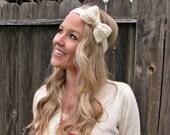Vanilla Bean Cream Crochet Bow Headband w/ Natural Vegan Coconut Shell Buttons Adjustable Hair Band Girl Woman Teen Head Knit Accessories