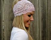 Wide Stretch Lace Headband in Soft Pale Pink (Soft Pastel Pink)