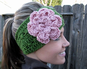 Green Headband w/ Pink Flower & Natural Vegan Coconut Shell Buttons, Adjustable Headwrap Earwarmers Hair Band Fashion Woman Wrap Accessory