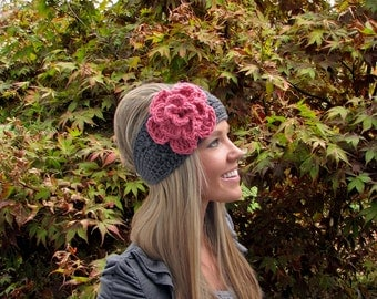 Charcoal Gray Headband w/ Pink Flower & Natural Vegan Coconut Shell Buttons, Adjustable Headwrap Earwarmers Hair Band Fashion Wrap Accessory