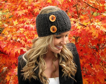 Dark Grey Heather Head Wrap w/ Reclaimed Wood Buttons Hair Accessory Band Earwarmer Fall Headband Fashion Teen Adult Girl Woman Boy Men