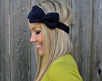 Navy Blue Crochet Bow Headband w/ Natural Vegan Coconut Shell Buttons Adjustable Hair Band Girl Woman Teen Head Wrap Cute Knit Accessories