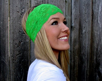 Wide Stretch Lace Headband in Green