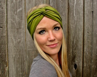 Vintage Turban Style Stretch Rayon Jersey Knit Headband in Moss Green - Multi Ways to Wear