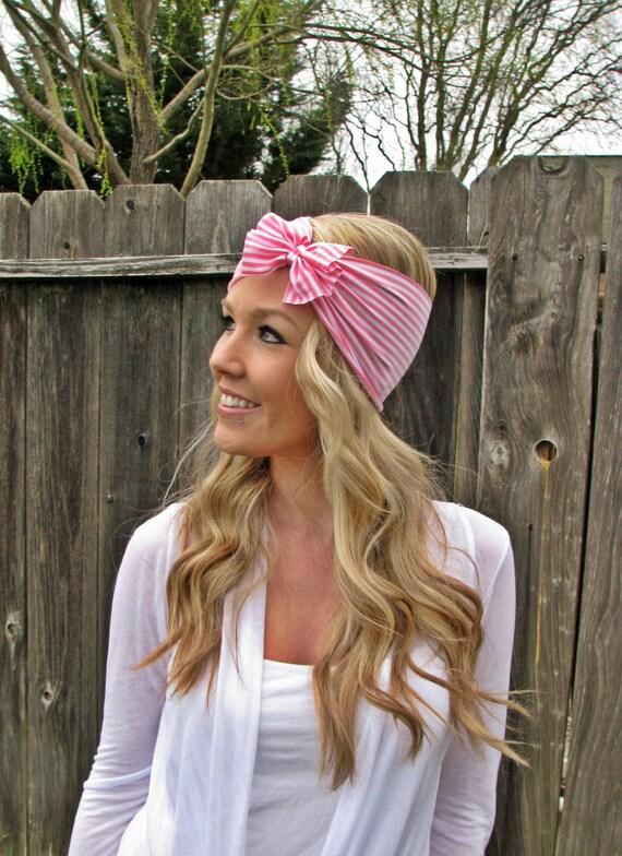 Vintage Multi Style Striped Stretch Jersey Knit Headwrap - Multi Ways To Wear
