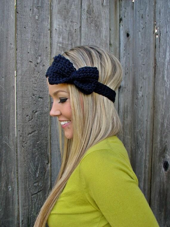 Navy Blue Crochet Bow Headband w/ Natural Vegan Coconut Shell Buttons Adjustable Hair Band Girl Woman Teen Head Wrap Cute Knit Accessories