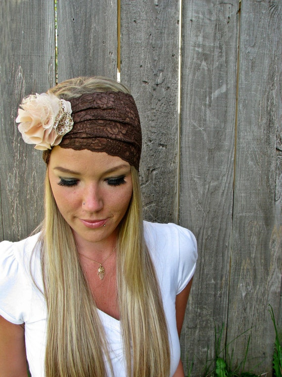 Wide Stretch Lace Headband in Chocolate Brown with Detachable Frilly Flower Brooch in Cream Tones and Cheetah Print