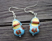 porcelain shoes blue yellow red flowers earrings
