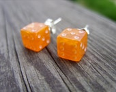 Orange tiny dice post earrings unisex jewelry for her for him rpg geek nerd geeky geekery fun game gamer