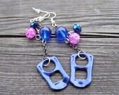 upcycled recycled tab soda can opener deep dark blue pink fuchsia purple chain earrings