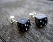 tiny dice post earrings black white dots unisex jewelry for her for him rpg geek nerd geeky geekery fun game gamer