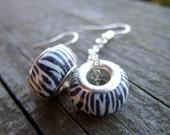 Safari animal earrings zebra print black and white stripes bw B&W on a chain beads