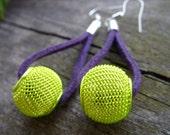 neon yellow purple earrings cyber jewelry suede string cyber goth indie industrial wire net