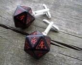geek D20 dice cuff links gamers wedding accessory rpg elf runes elvish die red black fantasy Tolkien inscriptions men