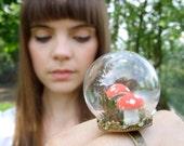mini terrarium ring miniature terrarium jewelry moss toadstool woodland green brown glass dome forest mushroom red white