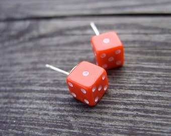 Red tiny dice post earrings geeky nerd unisex earrings for her for him rpg dices die gamer