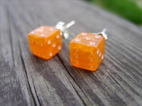 Orange tiny dice post earrings unisex jewelry for her for him rpg geek nerd geeky geekery fun game gamer