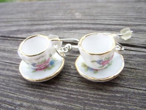 kawaii cosplay lolita miniature mini porcelain tea cup and saucer white gold flowers roses nickel free tablewear earrings