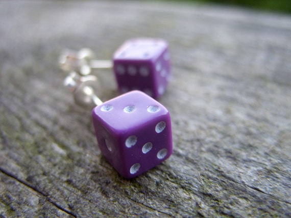 tiny dice post earrings purple violet unisex jewelry for her for him rpg geek nerd geeky geekery fun game gamer