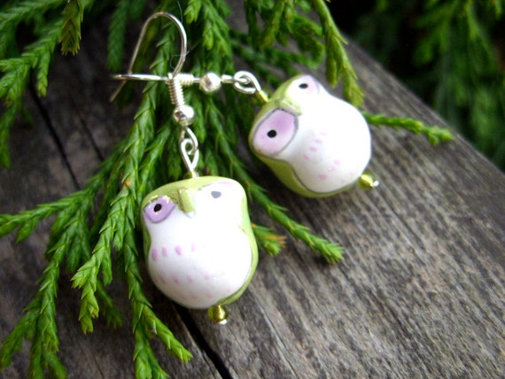 green porcelain owl bird earrings perfect christams gift for her under 15 under 20 under 25