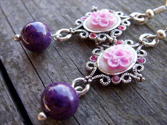 Purple victorian cameo roses earrings plum violet lolita kawaii under 25