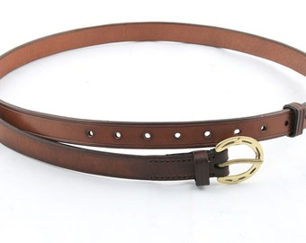 """Leather Belt with Horseshoe Buckle - 3/4"""" wide"""