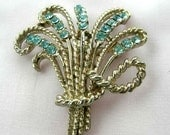 Vintage signed Coro spray of wheat brooch w baby blue rhinestones