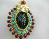 Swoboda signed Princess brooch w turquoise, pearls, garnet and onyx