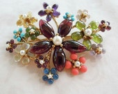Swoboda 15 flower brooch with jade, turquoise,peridot and pearls