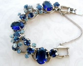 Juliana  Fabulous 5 link bracelet rhodium plated  metal and sparkling shades of blue rhinestones