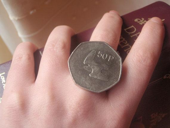 Irish 50 pence coin ring