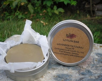 LAVENDER PATCHOULI Covington Creek Candle Company Hemp Oil Lotion Bar  Made With Organic Ingredients.