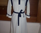 Amazing CRISP NAVY and IVORY belted Wool Knit Dress by Butte Knit, 1960s vintage