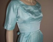vintage 1950s ROBIN'S EGG Blue and Party Cocktail Dress