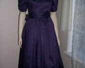 Stunning Laura Ashley Deep PURPLE Polished Cotton Sateen 1980s Dress, NWT, Size S/M