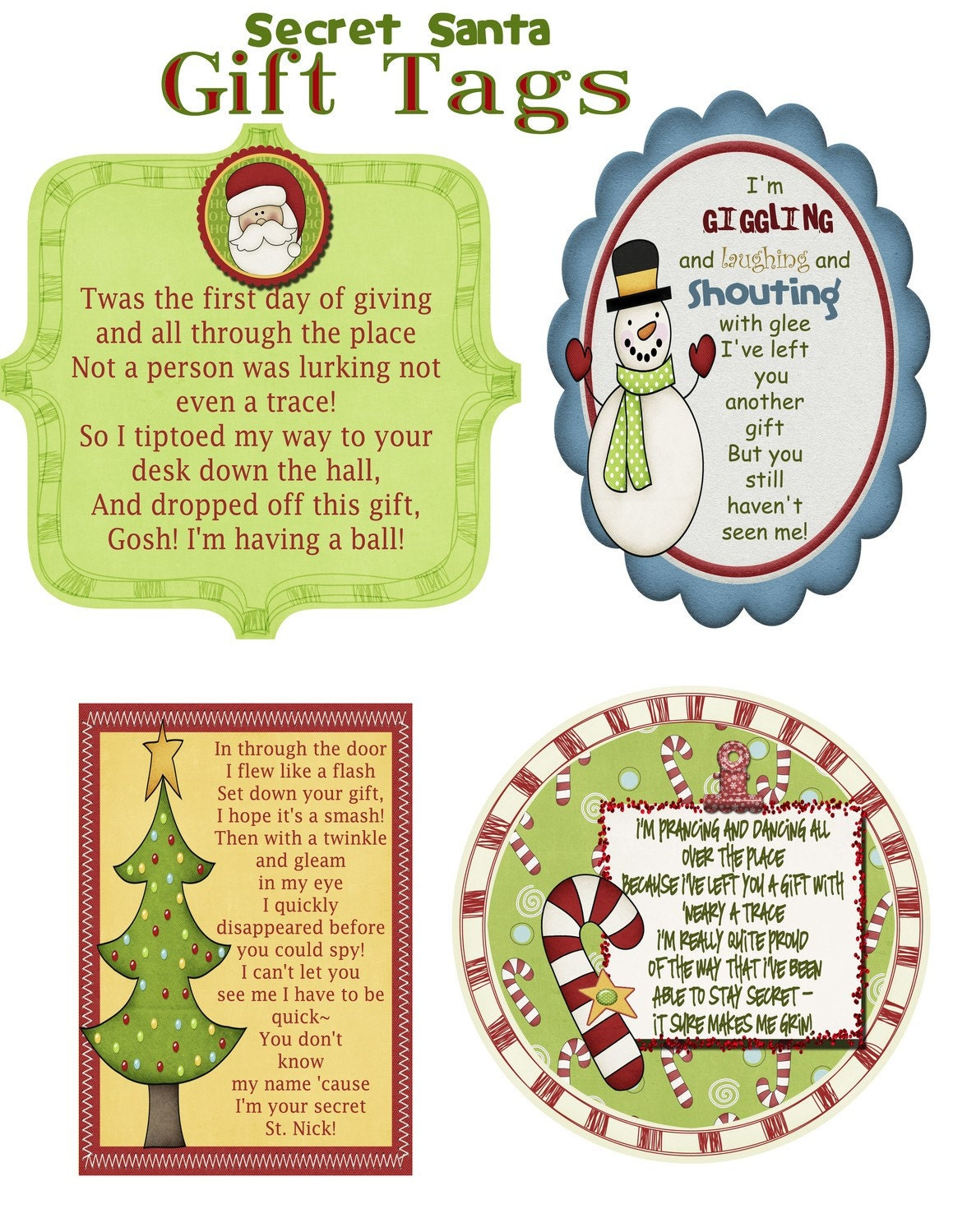 Items similar to Secret Santa Gift Tag Poem on Etsy